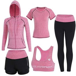 Onlyso Women's 5pcs Sport Suits Fitness Yoga Running Athletic Tracksuits 22 Fashion Online Shop gifts for her gifts for him womens full figure