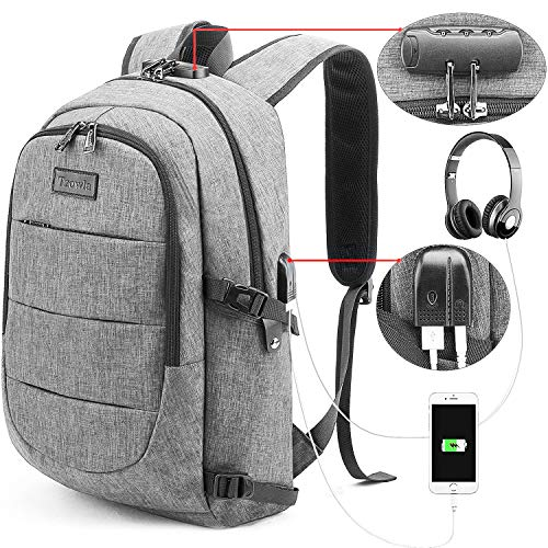 College School Laptop Backpack Water Resistant Anti-Theft Bag with USB Charging Port and Lock 14/15.6 Inch Computer Business Backpacks for Women Men Student,Bookbag Casual Hiking Travel Daypack Gift