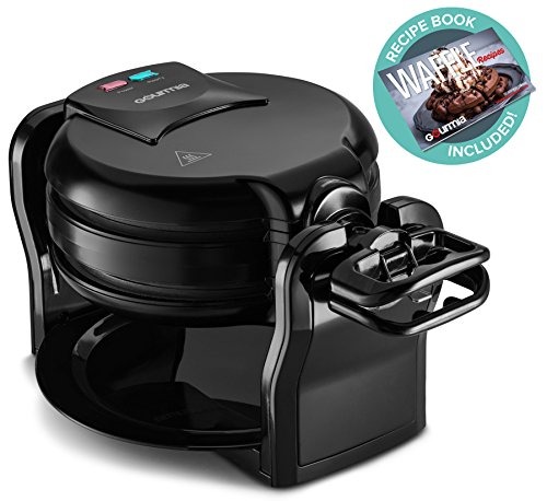 Gourmia GWM490 Auto Double Belgian Waffle Maker - Fast & Easy - 180° Flipping - Spill and Drip Tray - Non-stick Plates - 1300W - Black - Free Recipe Book
