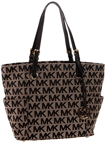 51g85Bt TWL Logoed open-top tote in jacquard construction featuring hardware feet and logo fob Adjustable leather top handles