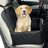 amorus 2-in-1 Waterproof Dog Pet Car Seat Covers Washable Automotive Cat Carrier for Travel (Black)
