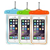 [3Pack]Waterproof Case Universal CellPhone Dry Bag Pouch CaseHQ for Apple iPhone 8,8plus,7,7plus,6s, 6, 6S Plus, SE, 5S, Samsung Galaxy s8 s8Plus S7, S6 Note 7 5, HTC LG Sony Nokia up to 5.8' diagonal