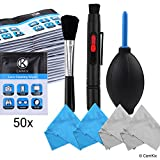 Camera Lens Cleaning Kit - Air Blower, Cleaning Brush, 2in1 Lens Cleaning Pen, 50 Individually Wrapped Wet Tissues and 4 Microfiber Cloths