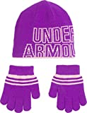 Under Armour Girls' Little Knit Beanie and Glove Combo, purple rave, 4-6X (M)