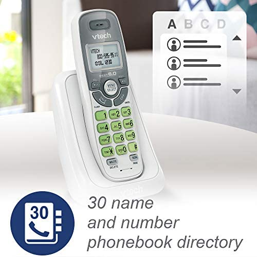 VTech CS6114 DECT 6.0 Cordless Phone with Caller ID/Call Waiting, White/Grey with 1 Handset 15