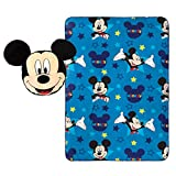 Jay Franco Disney Mickey Mouse Plush Pillow and 40' x 50' Inch, Kids Super Soft 2 Piece Nogginz Set (Official Product), Blue