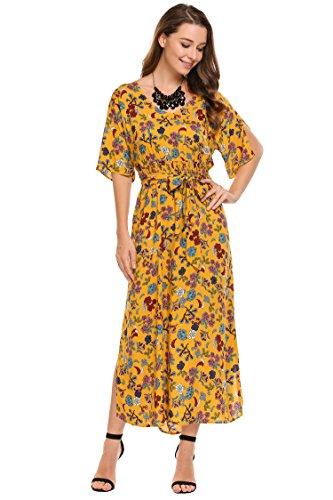 Aceshin Womens Boho Split Tie-Waist Vintage Floral Print Long Maxi Dress