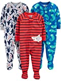 Simple Joys by Carters Boys 3-Pack Loose Fit Flame Resistant Polyester Jersey Footed Pajamas, Iguana/sea Creatures/Shark, 18 Months