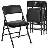 Flash Furniture 4 Pack Beige Vinyl Folding Chairs, Metal Frame