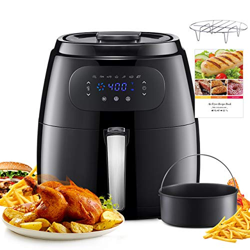 OMORC 7.6QT Air Fryer XL,Upgraded LCD Touch Screen Hot Air Fryer Oven, 8-15 Presets, Oilless Cooker w/Heat Preservation Function, Non-Stick Interior, Detachable Dishwasher Safe Basket (Recipe Book Included)