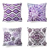 Phantoscope Set of 4 New Living Series Decorative Dark Purple Throw Pillow Case Cushion Cover 18 x 18 inches 45cm x 45cm