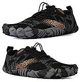 WHITIN Men's Trail Running Shoes Minimalist Barefoot 5 Five Fingers Wide Width Toe Box Gym Workout Fitness Low Zero Drop Male Lightweight Minimus Tennis Flat Comfort Black Size 9.5