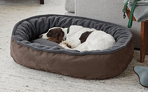 Orvis Comfortfill Wraparound Dog Bed with Fleece/Large Dogs 60-90 Lbs, Mocha,