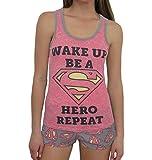 DC Comics Women's Supergirl 2-Piece Pajama Tank/Short Set, Pink, XL