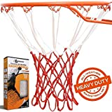 BETTERLINE Heavy Duty Basketball Net Replacement - All-Weather Thick Nets Fit Standard Indoor and Outdoor 12-Loop Rims (White and Red)