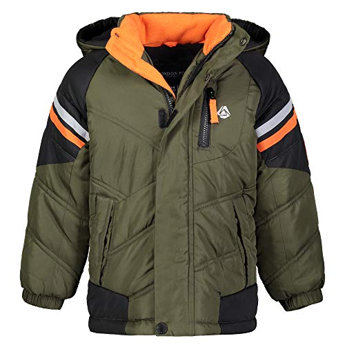 London Fog Boys' Big Active Puffer Jacket Winter Coat, Olive Drab and Solid Black, 10/12
