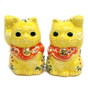 Japanese pair Maneki Neko Lucky cats Yellow Kutani ceramic
