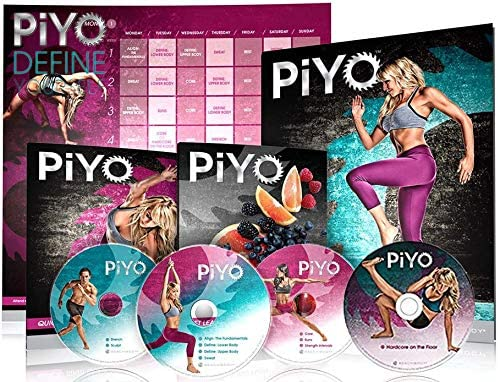 Allem PiYo Base Kit, Chalene Johnson's 5 DVDs Yoga Workouts Fitness Program & Nutrition Guide