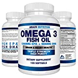 Omega 3 Fish Oil 2250mg - High EPA 1200MG + DHA 900MG Triple Strength Burpless Capsules - Arazo Nutrition (120 Count)