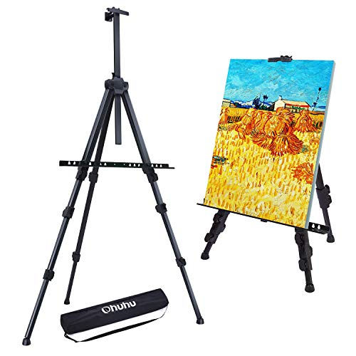 """Easel Stand, Ohuhu 72"""" Artist Easels for Display, Aluminum Metal Tripod Field Easel with Bag for Table-Top/Floor/Flip Charts, Black Art Easels W/Adjustable Height 25-72"""" for Back to School"""