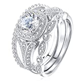 Newshe Bridal Set 2ct Round Cut White Cz 925 Sterling Silver Wedding Engagement Ring Set Size 9