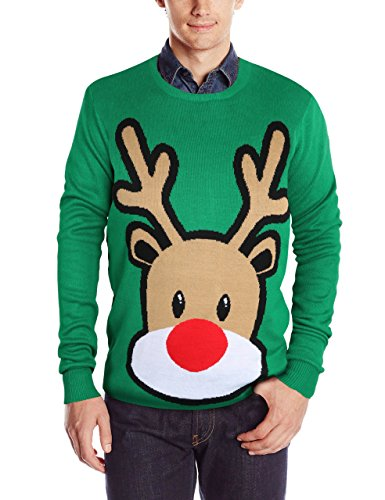 RAISEVERN Men's Ugly Christmas Sweater Long Sleeve Crewneck Knitted Oversized Pullover Sweater Reindeer Green Large