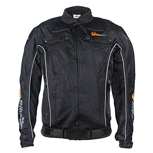 Riding Tribe JK08 Men's Summer Motorcycle Jacket Protective Gear (XL, Black)