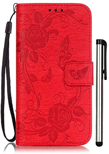 Samsung Galaxy S5 Flip Case Floral Red Leather Wallet Full Body Magnet Book Cover CellPhone Accessories with Stand Credit Card Holders Cash Slot Wrist Strap Handmade Embossed Fashion Butterfly Flower