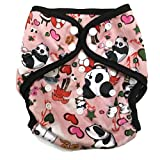 BB2 Baby One Size Printed Minky Minkee Snaps Cloth Diaper Cover for Prefolds (One Size, Panda)