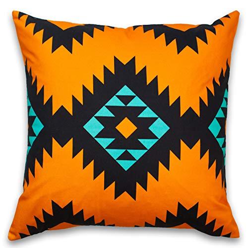 Teal Orange Southwest Throw Pillow Covers