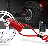 TOMALL Red Disc Brake Lock Anti-theft Steel Wire Lock For Xiaomi Mijia M365 Motorcycle Bicycle Wheels Locker With Reminder Rope
