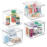 mDesign Stackable Plastic Storage Bin Box with Hinged Lid Organizer for Vitamins, Supplements, Serums, Essential Oils, Medicine Pill Bottles, Adhesive Bandages, First Aid Supplies - 4 Pack - Clear