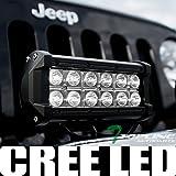 Topline Autopart Universal 7' Pair Rectangular 36W Cree LED Driving Fog Light Lamp For Bumper Hood Work Bar Off Road Roof Rack Utility Cross Bar