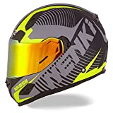NENKI Helmets NK-856 Full Face Motorcycle Helmets DOT Approved With Iridium Red Visor and Inner Sun Shield Attached Outer Clear Visor (XL, Matt Black & Yellow)