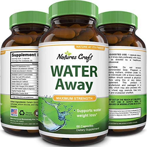 Natural Water Pills - Reduce Excess Water - Weight Loss Appetite Suppressant Benefits - Vitamin B6 Pyridoxine Hydrochloride - Dandelion Root + Pure Green Tea Diuretic for Women & Men 3