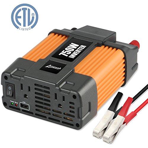 Ampeak 750W Power Inverter 12V to 110V AC Converter with 2.1A USB Dual AC Outlets Car Inverter
