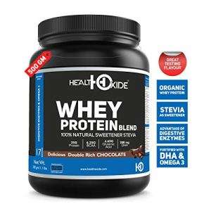 HealthOxide Whey Protein with 100% Natural Sweetener Stevia, Omega 3 and Digestive Enzymes – 500 g (Delicious Double Rich Chocolate)