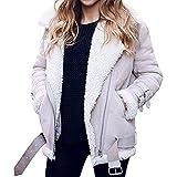 Sanyyanlsy Winter Women's Faux Fur Coat Outwear Notch Neck Lapel Lace-up Long Sleeve Broadcloth Motor Bomber Jacket Tops Gray