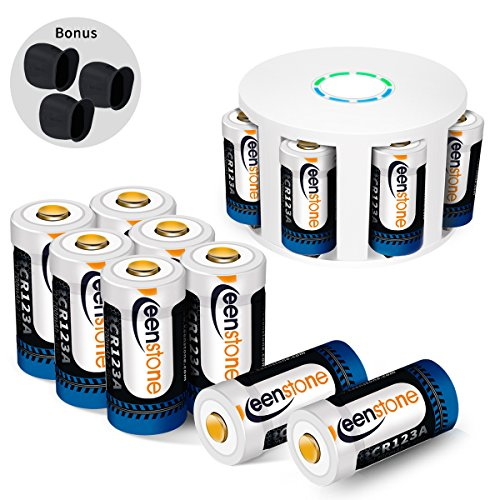 RCR123A Rechargeable Batteries and Charger, Keenstone 12Pcs 3.7V 700mAh Li-ion Battery w/8-Ports Charger and Camera Skin for Arlo VMS3030/3230/3330/3430/3530 Security Cameras