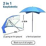 EasyGo Brella 2 in 1 Beach Umbrella, Blue