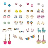24 Pairs Multiple Hypoallergenic Earrings Set for Little Girls, Made with Stainless Steel, Kids Colorful Cute Unicorn Earrings (Color-2)