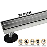 36-Inch Linear Shower Drain with Tile Insert Grate, Brushed 304 Stainless Steel Long Shower Floor Drain for Bathroom, Rectangle Floor Shower Drain with Adjustable Leveling Feet and Hair Strainer