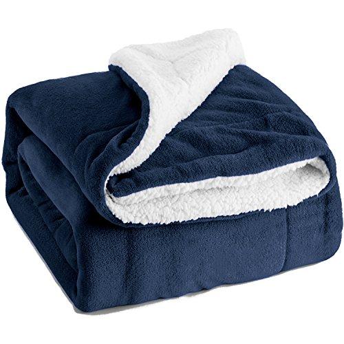 BEDSURE Sherpa Fleece Blanket Twin Size Navy Blue Plush Throw Blanket Fuzzy Soft Blanket Microfiber