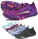 AMOCOCO Unisex Barefoot Shoes - Minimalist Training Sneakers | Wide Toe Box Quick Drying Beach Shoe Purple, 9.5 Women/8 Men