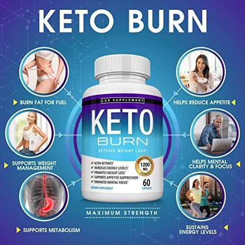 Keto Burn Pills Ketosis Weight Loss - 1200 Mg Ultra Advanced Natural Ketogenic Fat Burner Using Ketone Diet, Boost Energy Focus & Metabolism Appetite Suppressant, Men Women 60 Capsules, Lux Supplement 4