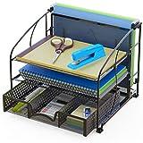 SimpleHouseware Desk Organizer 3 Tray w/Sliding Drawer and Hanging File Holder, Black