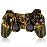 PS3 Controller Wireless PS3 Games Remote - KLNO Sixaxis Dualshock Gamepad, Best Gifts for Kids, Son and Father in Family Playing with USB Charger Cable, for SONY original Playstation 3(Brassiness)