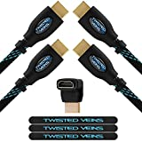 Twisted Veins HDMI Cable 15 ft, 2-Pack, Premium HDMI Cord Type High Speed with Ethernet, Supports HDMI 2.0b 4K 60hz HDR on Most Devices and May Only Support 4K 30hz on Some Devices