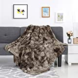 LANGRIA Luxury Super Soft Faux Fur Fleece Throw Blanket Cozy Fluffy Warm Breathable Lightweight and Machine Washable Dyed Fabric for Winter - Decorative Throw for Couch Sofa Bed (50' x 60', Brown)