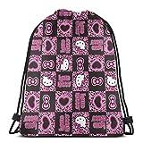 MPJTJGWZ Classic Drawstring Bag-Hello Kitty Pattern Gym Backpack Shoulder Bags Sport Storage Bag for Man Women